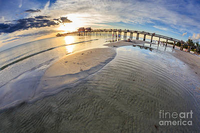 Poster featuring the photograph Sunset Naples Pier Florida by Hans- Juergen Leschmann