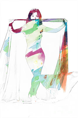 Suro Female Nude Watercolor Painting Fine Art Print Or Picture P Poster