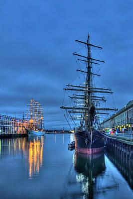 Tall Ships On Boston Harbor - Fish Pier Poster