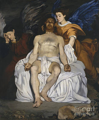 The Dead Christ With Angels Poster