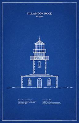 Tillamook Rock Lighthouse - Oregon  - Blueprint Drawing Poster by Jose Elias - Sofia Pereira