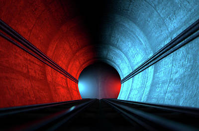 Train Tracks And Tunnel Split Choices Poster