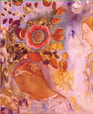 Two Young Girls Among Flowers Poster by Odilon Redon