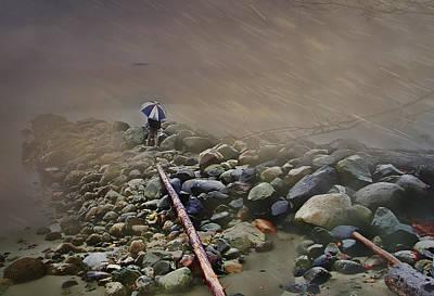 Umbrella On The Rocks Poster by Dale Stillman