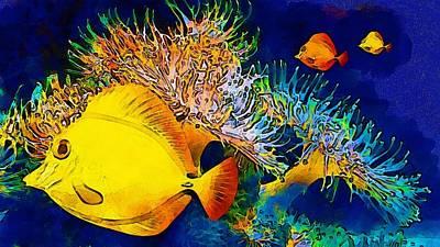 Underwater. Fish. Poster by Elena Kosvincheva