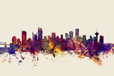 Vancouver Canada Skyline Poster by Michael Tompsett