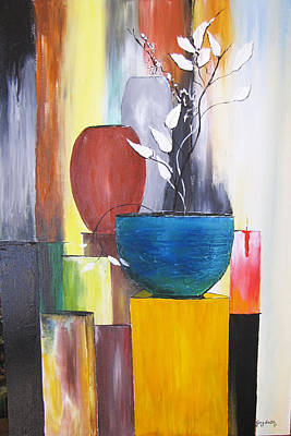 Poster featuring the painting 3 Vases by Gary Smith