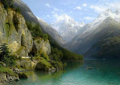 View Of Lake Lucerne Poster by Johann Joseph