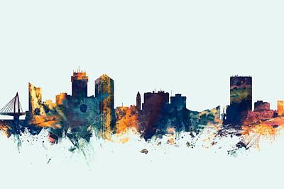 Wichita Kansas Skyline Poster by Michael Tompsett
