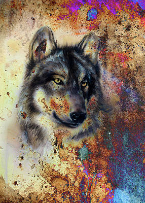 Wolf Painting, Color Abstract Effect On Background Poster by Jozef Klopacka