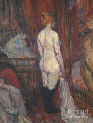 Woman Before A Mirror Poster by Henri de Toulouse-Lautrec