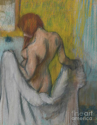 Woman With A Towel Poster by Edgar Degas