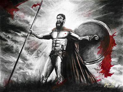 300 King Leonidas Poster by Jordan Spector