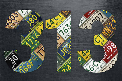 313 Area Code Detroit Michigan Recycled Vintage License Plate Art Poster by Design Turnpike