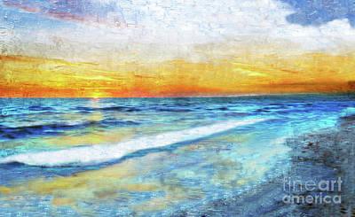 Seascape Sunrise Impressionist Digital Painting 31a Poster