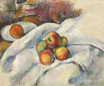 Apples On A Cloth Poster by Paul Cezanne