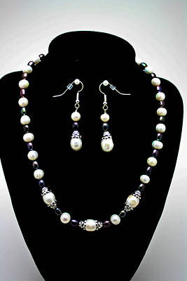 3531 Freshwater Pearl Necklace And Earring Set Poster by Teresa Mucha