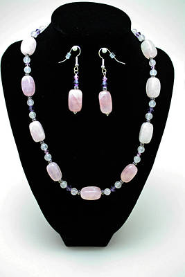 3560 Rose Quartz Necklace And Earrings Set Poster by Teresa Mucha