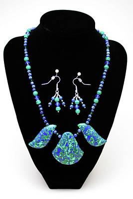 3582 Lapis Lazuli Malachite Necklace And Earring Set Poster