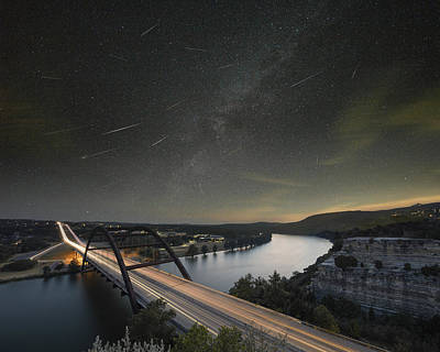 360 Bridge And The Perseid Meteor Shower Poster