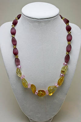 3603 Citrine And Amethyst Cats Eye Necklace Poster