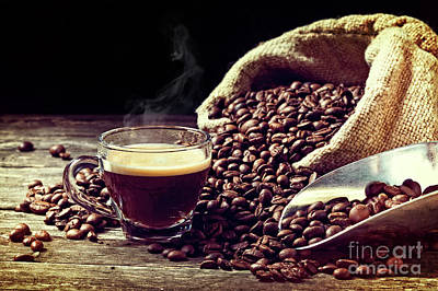 Poster featuring the photograph Espresso And Coffee Grain by Gualtiero Boffi
