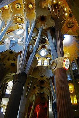 Artistic Achitecture Within The Sagrada Familia In Barcelona Poster by Richard Rosenshein