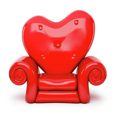3d Red Sofa Cartoon On Heart Shape Isolated On White Poster