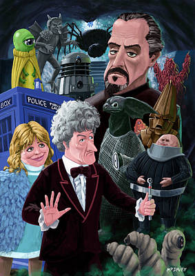 3rd Dr Who And Friends Poster by Martin Davey
