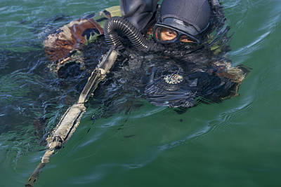 A Navy Seal Combat Swimmer Poster by Michael Wood