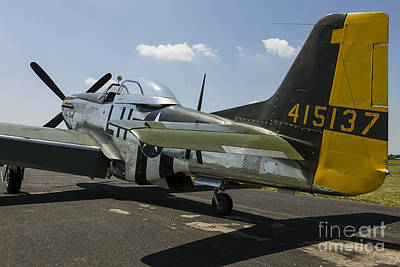 A P-51 Mustang Parked On The Ramp Poster