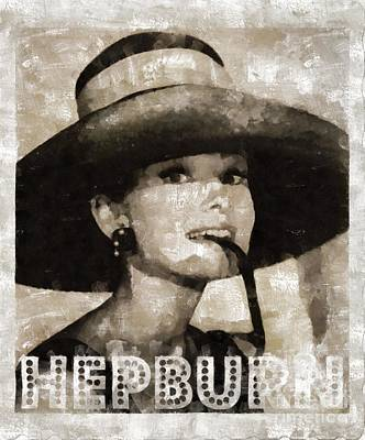 Audrey Hepburn Hollywood Actress Poster by Mary Bassett