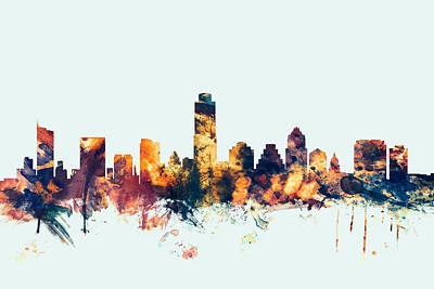 Austin Texas Skyline Poster by Michael Tompsett