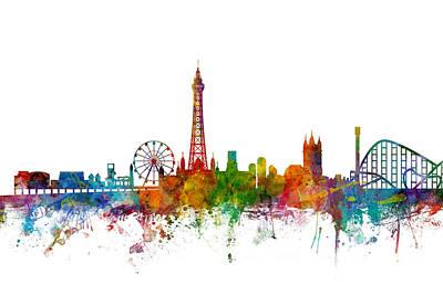 Blackpool England Skyline Poster