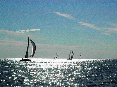 4 Boats On The Horizon Poster