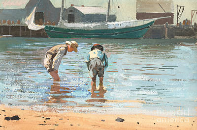 Boys Wading Poster by Winslow Homer