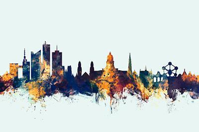Brussels Belgium Skyline Poster by Michael Tompsett