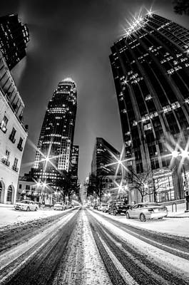 Charlotte Nc Skyline Covered In Snow Poster