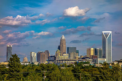 Charlotte North Carolina City Skyline Poster by Alex Grichenko