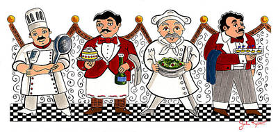 4 Chefs Poster by John Keaton