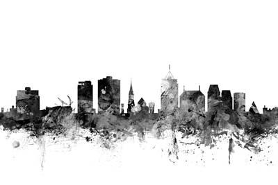 Christchurch New Zealand Skyline Poster by Michael Tompsett