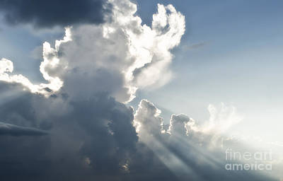 Cloudy Sky With Sun Rays Poster