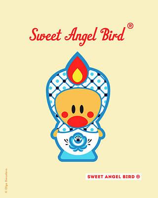 Cute Art - Blue And White Flower Folk Art Sweet Angel Bird In A Nesting Doll Costume Wall Art Print Poster