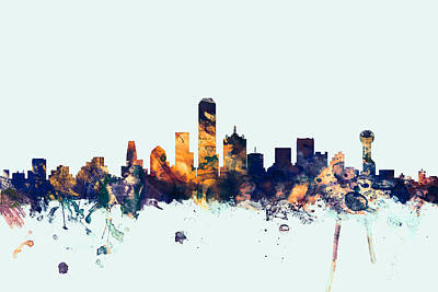 Dallas Texas Skyline Poster by Michael Tompsett