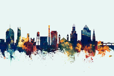 Durham North Carolina Skyline Poster