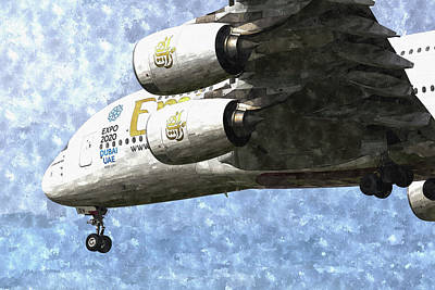 Emirates A380 Airbus Watercolour Poster by David Pyatt