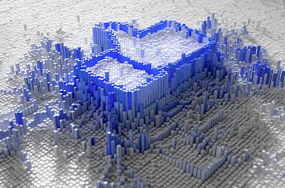 Facebook Like Logo In Pixels Poster by Allan Swart