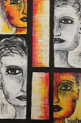 Poster featuring the painting 4 Faces by Sladjana Lazarevic
