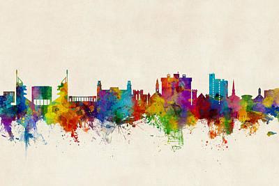 Fayetteville Arkansas Skyline Poster by Michael Tompsett