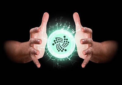 Hands Grasping Cryptocurrency Poster
